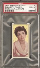 ~ 1955 Barbers Tea Cinema Stars ~ ELIZABETH TAYLOR ~ PSA 8 ~ Rare Liz Taylor ~