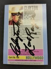 """~ CLAYTON MOORE """"Lone Ranger"""" Card ~ JSA Certified Autograph ~ Starline Holywood"""