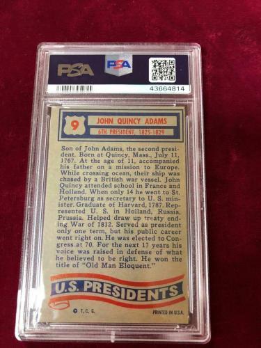 1956 Topps US Presidents #09 JOHN QUINCY ADAMS PSA 7 (ANM-814)