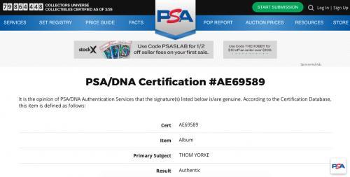 Thom Yorke Signed Radiohead Kid A Record Album Psa Coa Ae69589