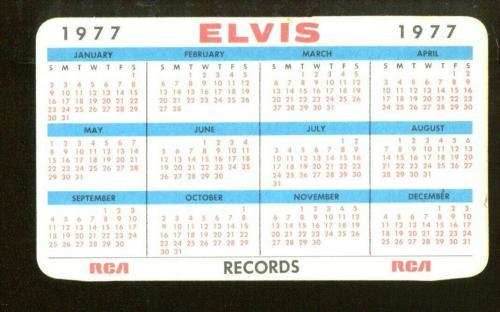 Elvis Presley Vintage 1977 RCA Records Pocket Calendar