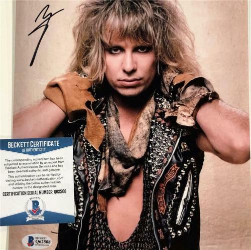 Motley Crue lead singer Vince Neil autograph signed 8x10 photo ~ Beckett BAS COA