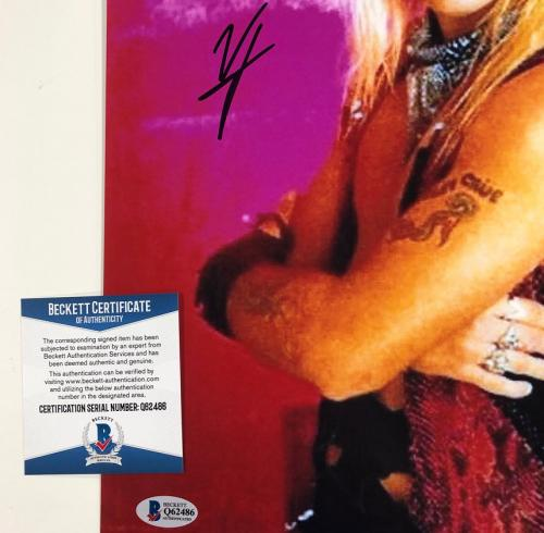 Motley Crue singer Vince Neil autograph signed 11x14 photo 1A ~ Beckett BAS COA