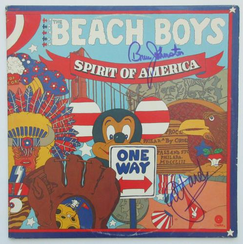 Al Jardine, Johnston signed autographed Beach Boys Spirit of America album,Proof