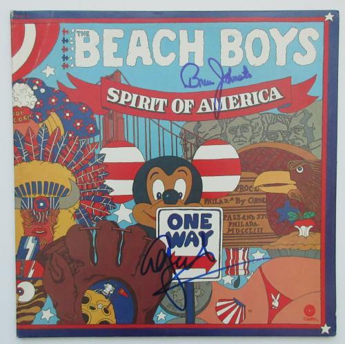 Al Jardine, Johnston signed autographed Beach Boys Spirit of America,album.proof