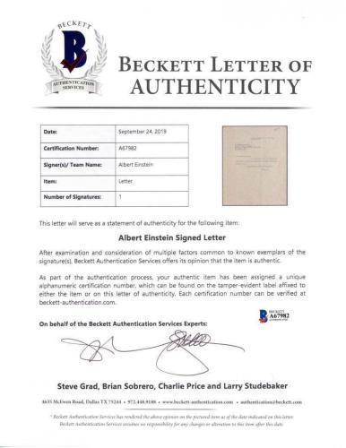 Albert Einstein Signed Autographed Typed 1939 Letter Beckett BAS
