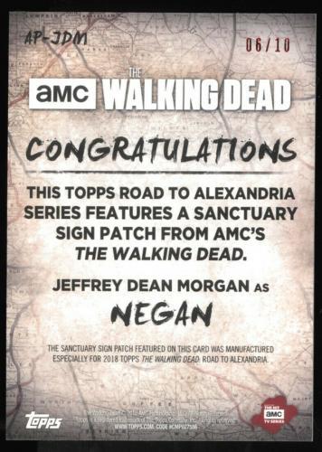Jeffrey Dean Morgan 2018 Topps Walking Dead Patch Auto 6/10