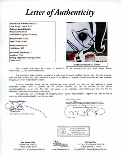 Margot Robbie Birds Prey Suicide Squad Autographed Signed Funko Pop JSA COA