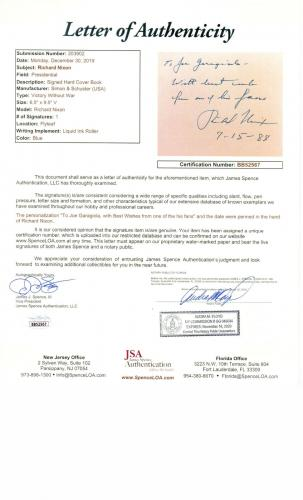 "Richard Nixon Signed Autographed Hardcover Book 1999 ""To Joe Garagiola"" JSA COA"