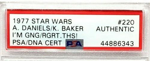 1977 Star Wars ANTHONY DANIELS & KENNY BAKER Signed Card #220 SLABBED PSA/DNA