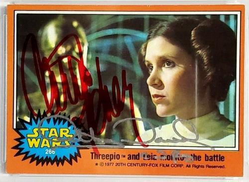 1977 Star Wars ANTHONY DANIELS & CARRIE FISHER Signed Card #266 SLABBED PSA/DNA
