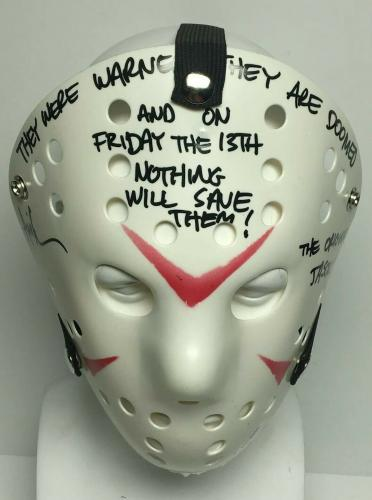 """Ari Lehman Signed Friday The 13th Mask """"They Were Warned/They Are Doomed"""" PSA"""