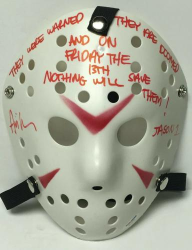 """Ari Lehman Signed Friday The 13th Mask """"They Were Warned/Are Doomed/Jason 1"""" PSA"""