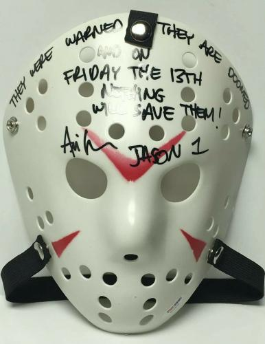 """Ari Lehman Signed Friday The 13th Mask """"Were Warned/Nothing Will Save Them"""" PSA"""