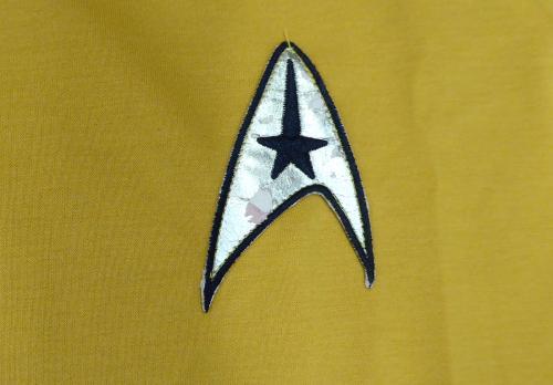 William Shatner Autographed Star Trek Uniform Shirt With Zipper (Damaged Patch) XL JSA #Y84668