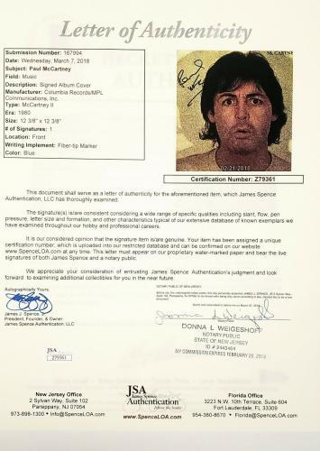 "PAUL McCARTNEY The Beatles Signed ""McCARTNEY II"" Album LP JSA & Graded BAS 10"