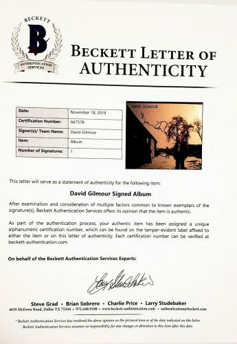 DAVID GILMOUR Pink Floyd Signed Autographed Album LP w/ Vinyl Beckett BAS A67578