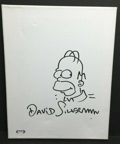 David Silverman Signed 11x14 Canvas 'w/ Homer Simpson Sketch *Simpsons PSA 0515