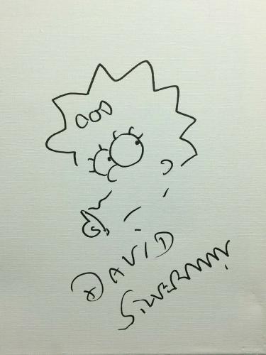 David Silverman Signed 11x14 Canvas 'w/ Maggie Simpson Sketch *Simpsons PSA 0516