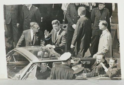 1963 John F. Kennedy w/ Mayor Daley, Senator Douglas in Chicago, Sun Times Photo