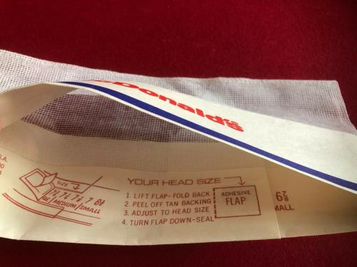 "1960's, McDonald's, ""Un-Used"" Employee (Slash Logo) Paper Hat (Scarce / Vintage)"