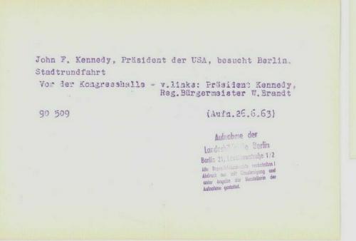 1963 President John F. Kennedy Berlin Trip, In Limousine, Original Wire Photo