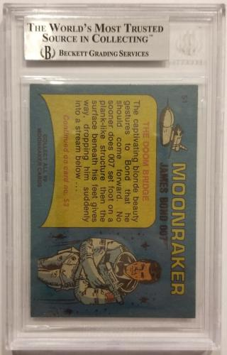 ROGER MOORE Signed 1979 Topps James Bond trading card #51 Moonraker BAS Auth.