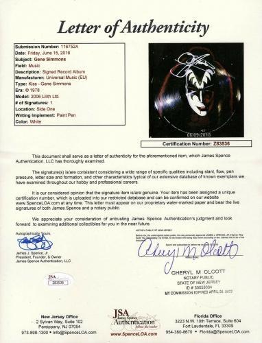 """GENE SIMMONS Signed Autographed """"KISS"""" Solo Album Picture Disc Vinyl JSA #Z83536"""