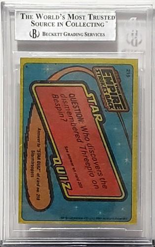 1980 TOPPS Star Wars JEREMY BULLOCH & QUENTIN PIERRE Signed Card BAS SLABBED