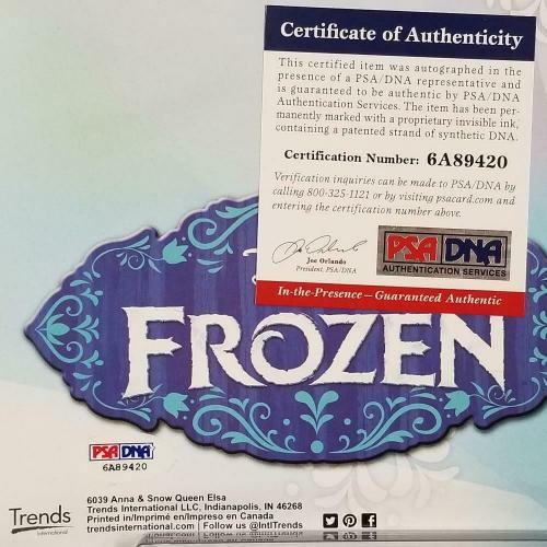 KRISTEN BELL + IDINA MENZEL Signed Disney's Frozen 22.5x34 Poster w/ PSA/DNA CO