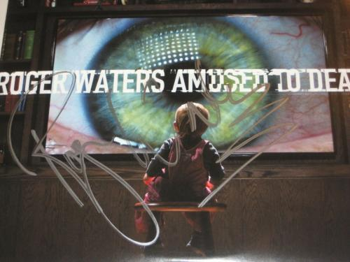 ROGER WATERS Signed AMUSED TO DEATH LP COVER w/ Beckett LOA