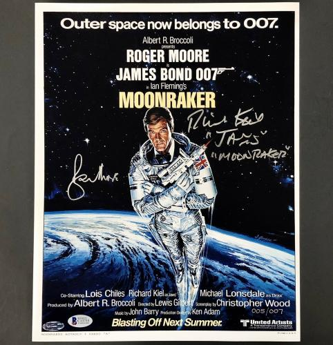 Richard Kiel ROGER MOORE James Bond signed Moonraker 11x14 Photo /007 ~ BAS COA