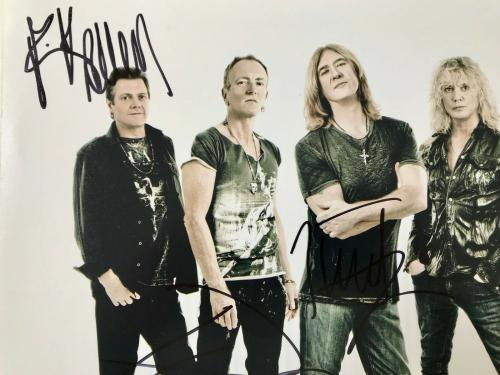 RARE- DEF LEPPARD Full Group (Elliot/Campbell/Collen +2) signed 11x14 photo-JSA