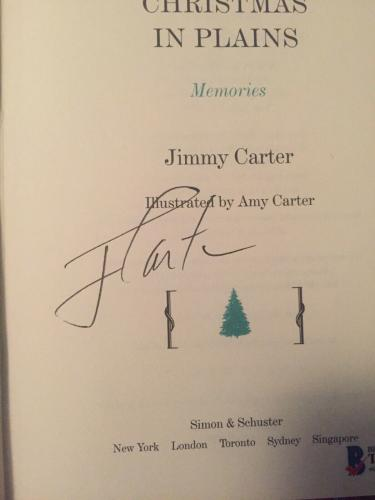 Jimmy Carter Signed Auto Christmas In Plains Book Collectors Edition Beckett COA