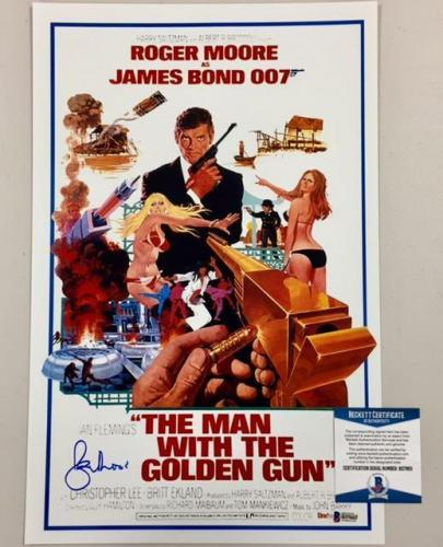 ROGER MOORE Signed MAN WITH THE GOLDEN GUN Bond 11x17 Movie Poster Photo BAS COA