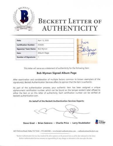 Rolling Stones Bill Wyman Signed 1.5x2.25 Cut Album Page Beckett BAS