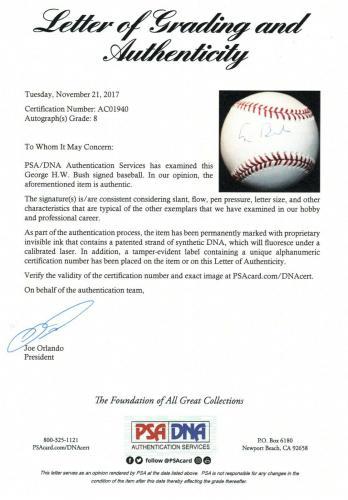President George H. W. Bush Psa/dna Graded 8 Signed Mlb Baseball Autograph 41