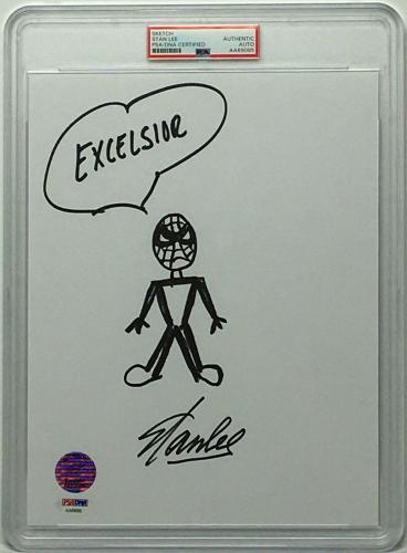 Stan Lee Signed 8.5x11 Photo w/ Spider-Man Sketch *Marvel PSA Slabbed AA69095