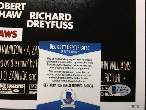 Richard Dreyfuss Signed 'Jaws' 12x18 Photo *Hooper BAS Beckett C10894