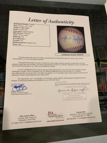 Hugh Heffner Playboy Magazine Mansion Single Signed Baseball Jsa Pb