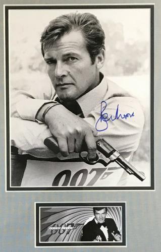 ROGER MOORE d.2017 (James Bond 007)  signed custom framed display-PSA