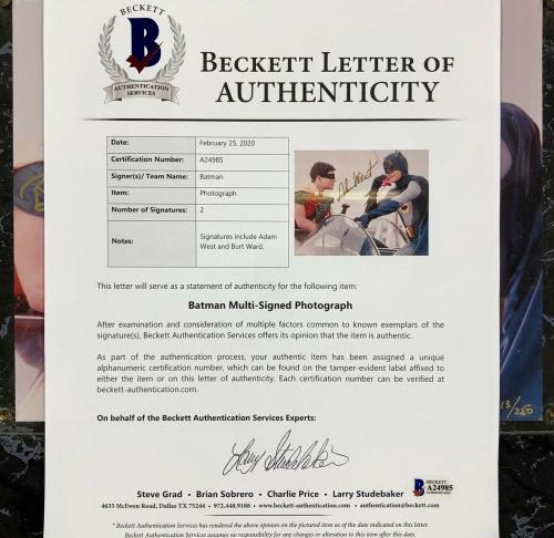 Adam West & Burt Ward autograph Batman & Robin signed 8x10 Photo BAS COA Beckett