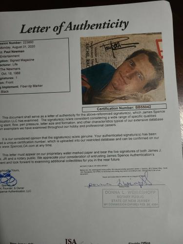 Paul Newman JSA Coa Signed 1968 Full Life Magazine