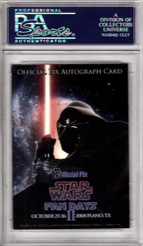"""DAVE PROWSE Signed """"DARTH VADER"""" STAR WARS Trade Card PSA/DNA SLABBED #83699838"""