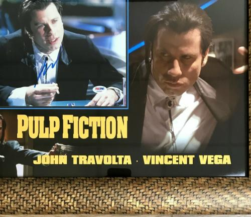 JOHN TRAVOLTA (Vincent Vega-Pulp Fiction) signed 8x10 custom framed display-PSA