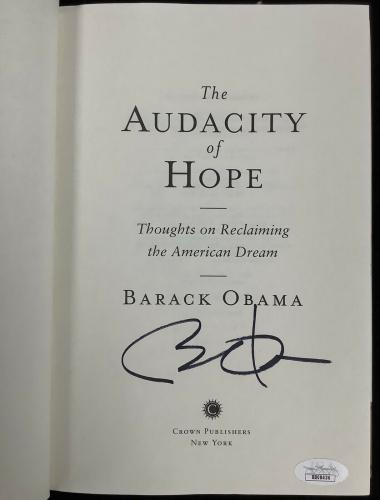 Barack Obama Signed Book Hardcover The Audacity of Hope President Autograph JSA