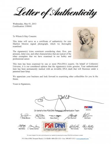 """Marilyn Monroe """"Love & Kisses"""" Signed 7.35x9.5 Black & White Photo PSA/DNA"""
