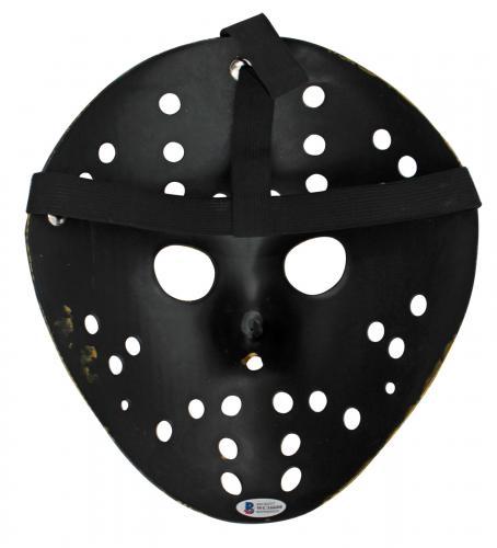 "Ari Lehman Friday The 13th ""Jason 1"" Signed Gold Jason Mask w/ Blue Sig BAS Wit"