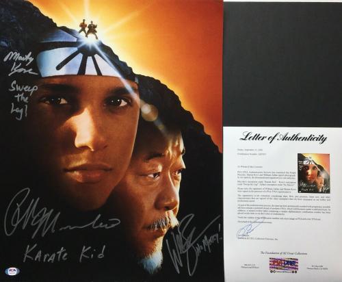 Ralph Macchio Martin Kove William Zabka Signed 16x20 Photo *No Mercy PSA AI07037