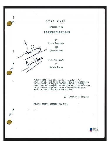 David Prowse Signed STAR WARS THE EMPIRE STRIKES BACK Movie Script Beckett COA